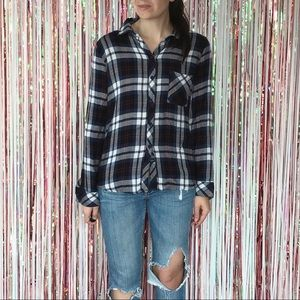 Rails Navy Magenta White plaid Hunter button down
